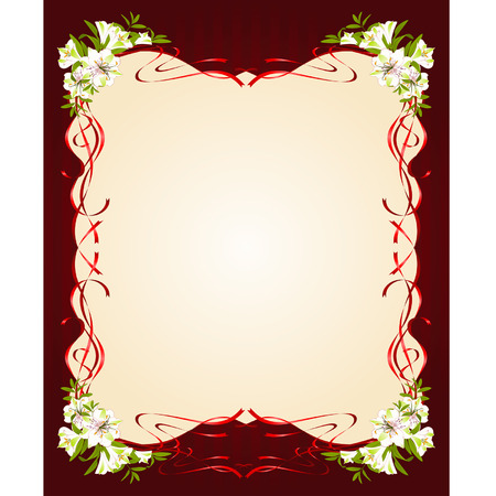 Beautiful frame with Lily Vector