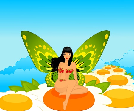 tinker bell: Pretty girl with butterfly  wings.
