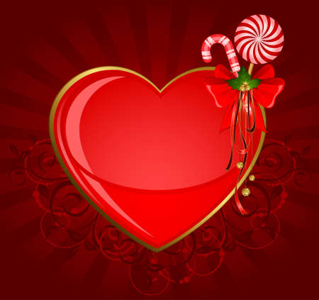 Christmas heart with bow and candy. photo