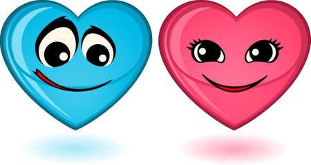 mimic:  set of heart mimic miens Stock Photo