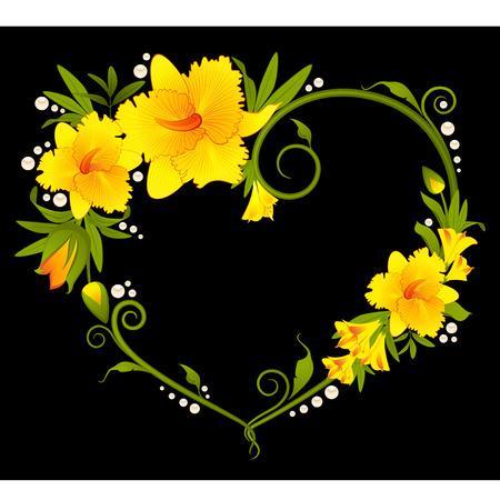 botanics: Beautiful orchid bouquet with hearts Illustration