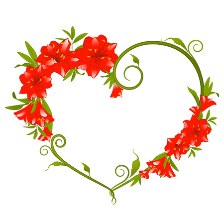 de lis: Hermoso ramillete de Lily con corazones Vectores