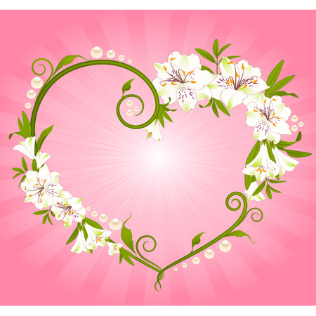 Beautiful Lily bouquet with hearts Vector