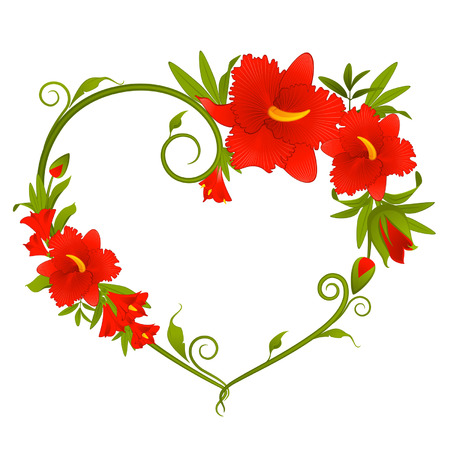 romance image: Beautiful orchid bouquet with hearts Illustration