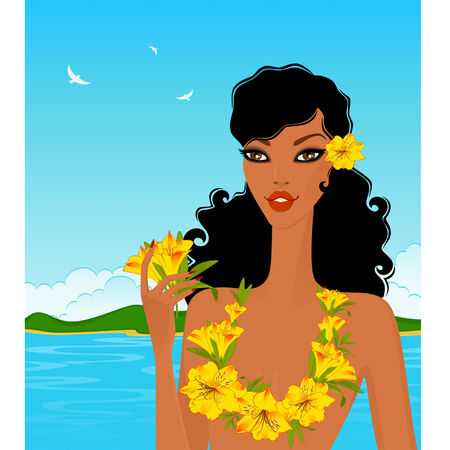 young woman with tropical flowers Vector