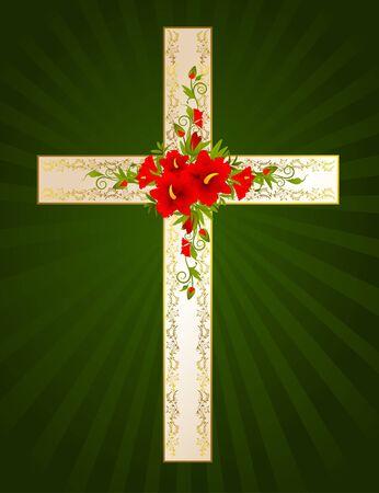 cruz roja: Cruz de oro con flores - s�mbolo de la fe cristiana.