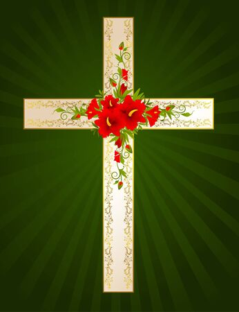 green cross: Golden cross with flowers - symbol of the Christian faith. Stock Photo