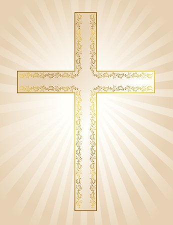 Golden cross - symbol of the Christian faith on a background