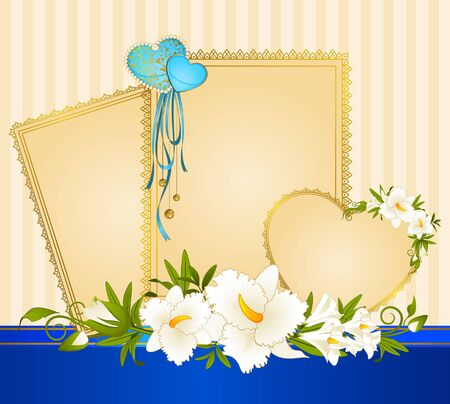 Beautiful background with lace frames and flowers photo