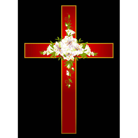 Golden cross with flowers - symbol of the Christian faith
