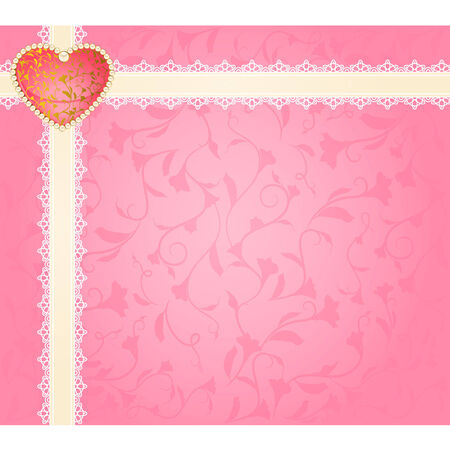 Beautiful background with lace ornaments and heart Vector