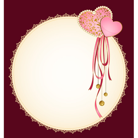 Beautiful background with lace frame and hearts Vector
