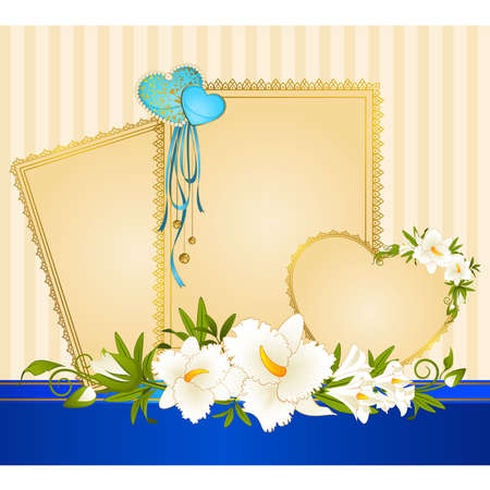 Beautiful background with lace frames and flowers Vector