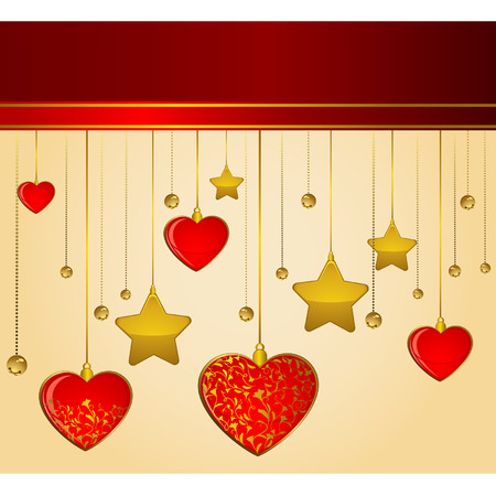 Beautiful background with hearts. Vector