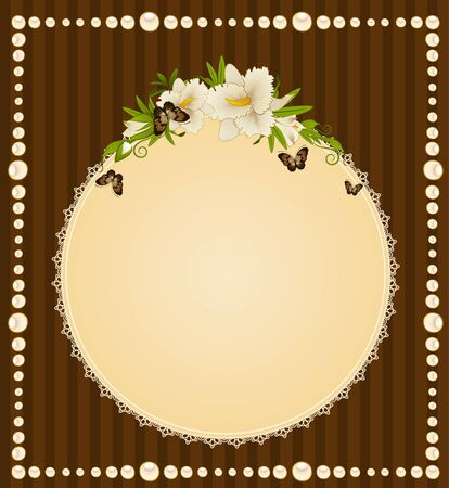 Beautiful background with lace ornaments and flowers photo