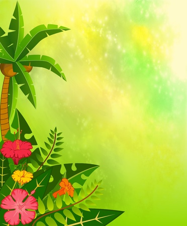 Beautiful background with tropical branches photo