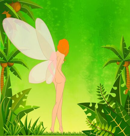 tinker bell: Pretty girl-fairy on island with tropical palms