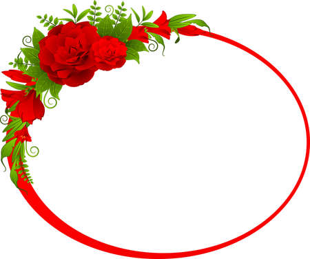 cartoon bouquet: Roses on the white background Stock Photo