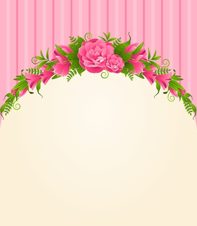 Roses with lace ornaments on background. photo