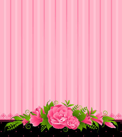 Roses with lace ornaments on background photo