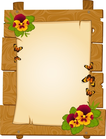 beautiful wooden pointers with flowers are isolated on the white photo