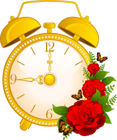 illustration of classic alarm clock on background illustration