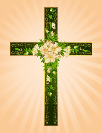 baptist: Golden cross with flowers - symbol of the Christian faith