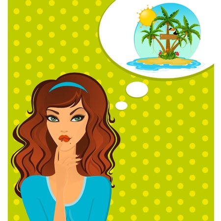 Young woman dream about tropical beach Vector
