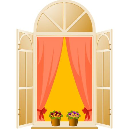 apartment abstract: The Wood window with pansy in flowerpot Illustration