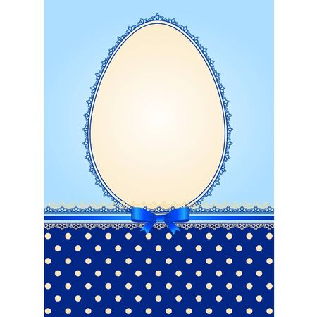 Easter card - lace ornaments and egg, bow Vector
