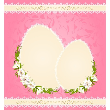 Eggs with lace ornaments and flowers. Easter card Vector