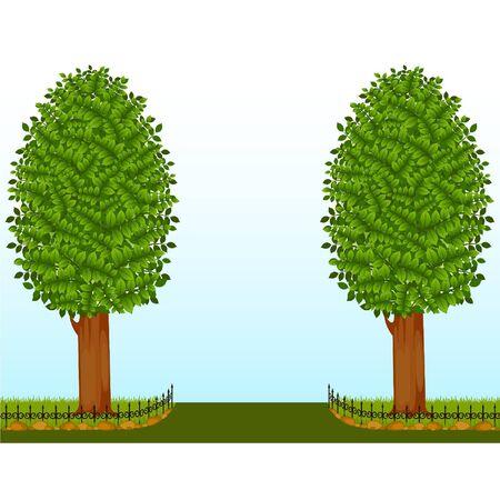 massif de fleurs: Beaux arbres avec cl�ture Illustration