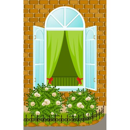 window open: facade of house with open window and flowerbed Illustration