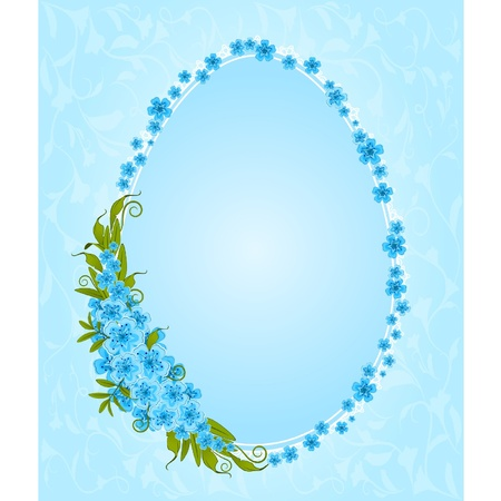 marriage cartoon: Eggs with lace ornaments and flowers. Easter card
