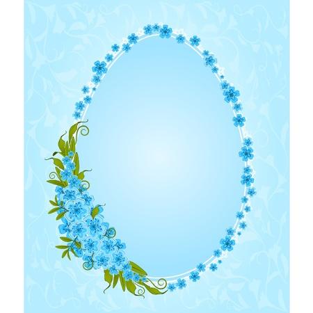 Huevos con adornos de encaje y flores. Tarjeta de Pascua Ilustración de vector