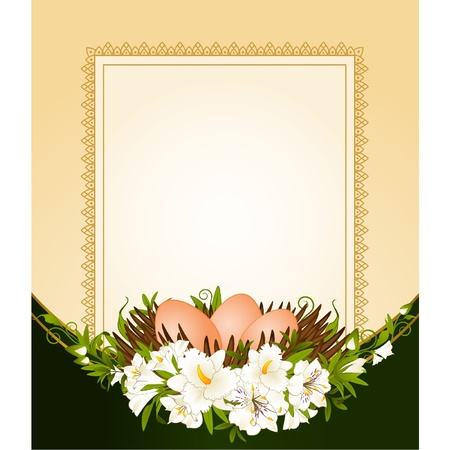 Eggs in nest with flowers. Easter card Vector