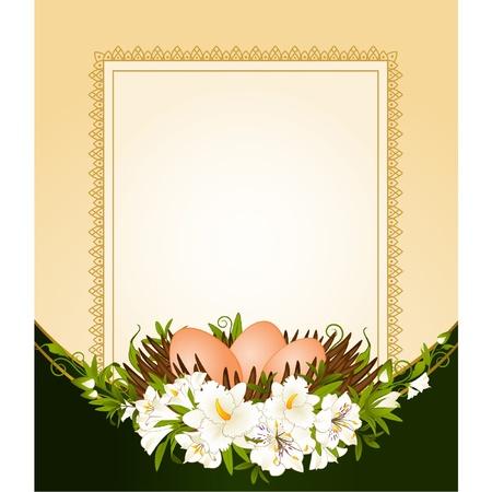 muguet fond blanc: ?ufs dans le nid avec des fleurs. Carte de P�ques