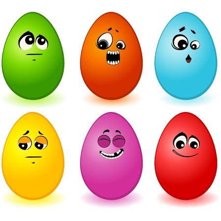 cartoon egg: Set of egg mimic miens
