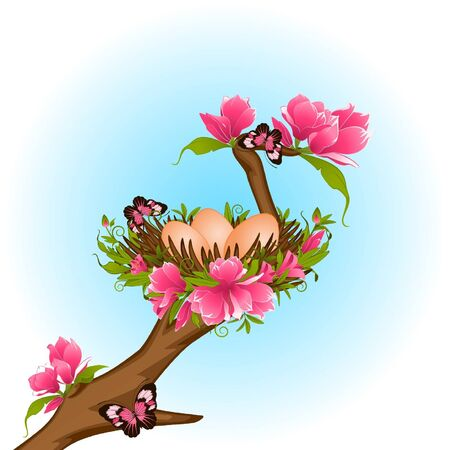 Eggs in nest with flowers. Easter card