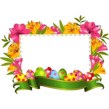 Eggs with ribbon and flowers. Easter Vector card