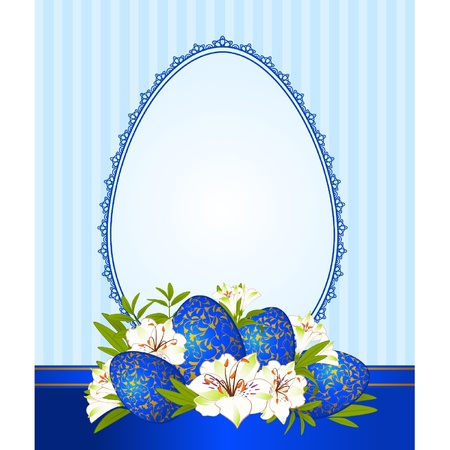 Eggs with lace ornaments and flowers. Easter Vector card Vector