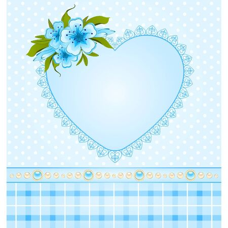 Beautiful heart with lace ornaments and flowers Vector