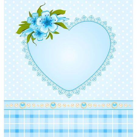 Schönes Herz mit Spitze Ornamente und Blumen Vektorgrafik