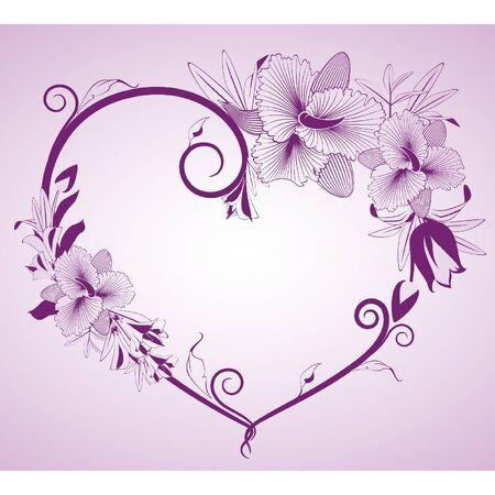 ladenkast: Bloemen en hart op de achtergrond Stock Illustratie