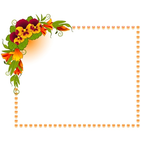 Pansy with lace ornaments on background Stock Vector - 9640214