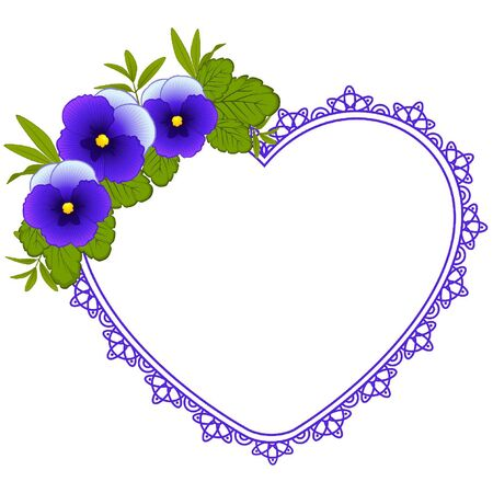 heart outline: Pansy with lace ornaments on background Illustration