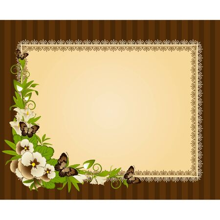 Pansy with lace ornaments on background Stock Vector - 9640343