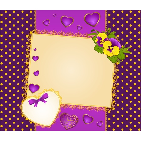 dresser: Pansy with lace ornaments on background Illustration