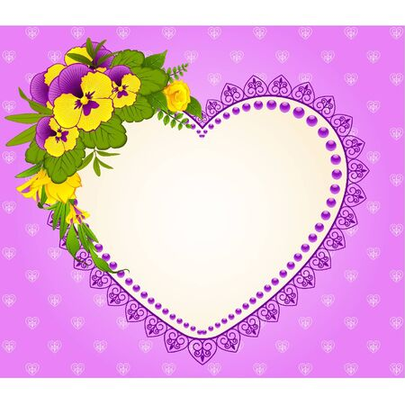 Pansy with lace ornaments on background Vector