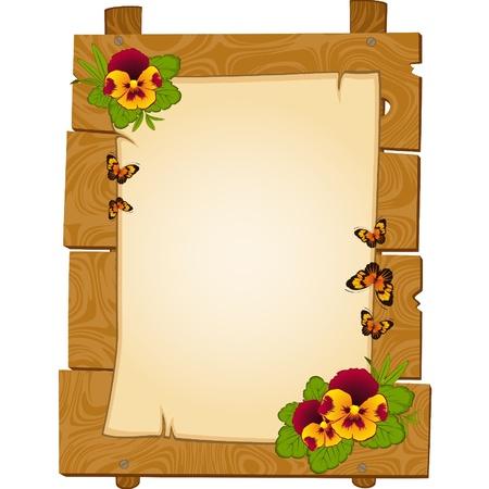 hermosas madera punteros con flores son aislados en el blanco